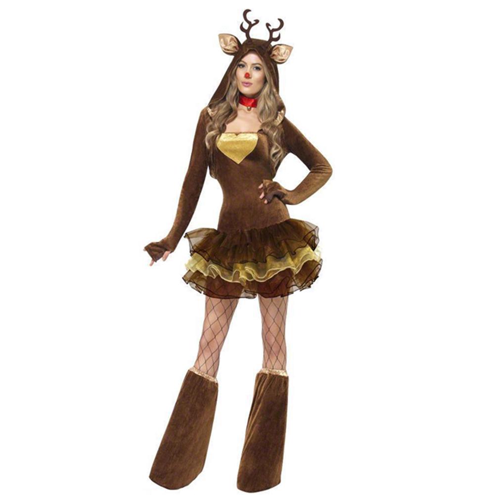 femmes filles renne animal cerf de no l costume d guisement costume ebay. Black Bedroom Furniture Sets. Home Design Ideas