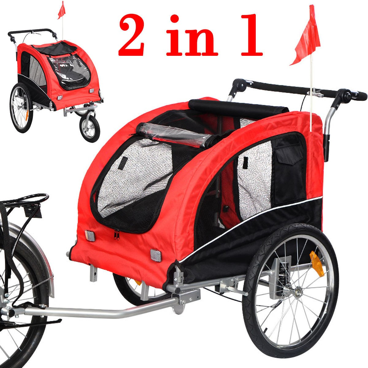 Our new 2 in 1 pet bike trailer/stroller is perfect for you to ride a bicycle with your lovely pets together. It features 2 in 1 weather-resistance canopy ...  sc 1 st  eBay & 2 IN 1 Pet Dog Puppy Bike Trailer Bicycle Trailer Stroller Jogging ...