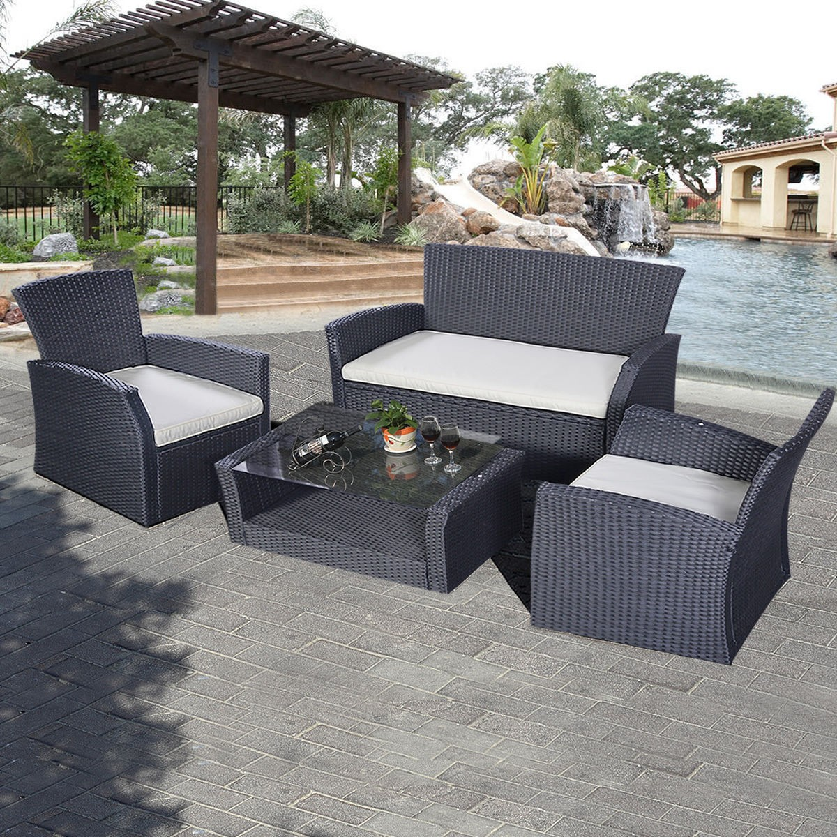4pcs outdoor patio furniture set wicker garden lawn sofa rattan us rh ebay com ebay.com.au wicker outdoor furniture ebay outdoor wicker furniture sale