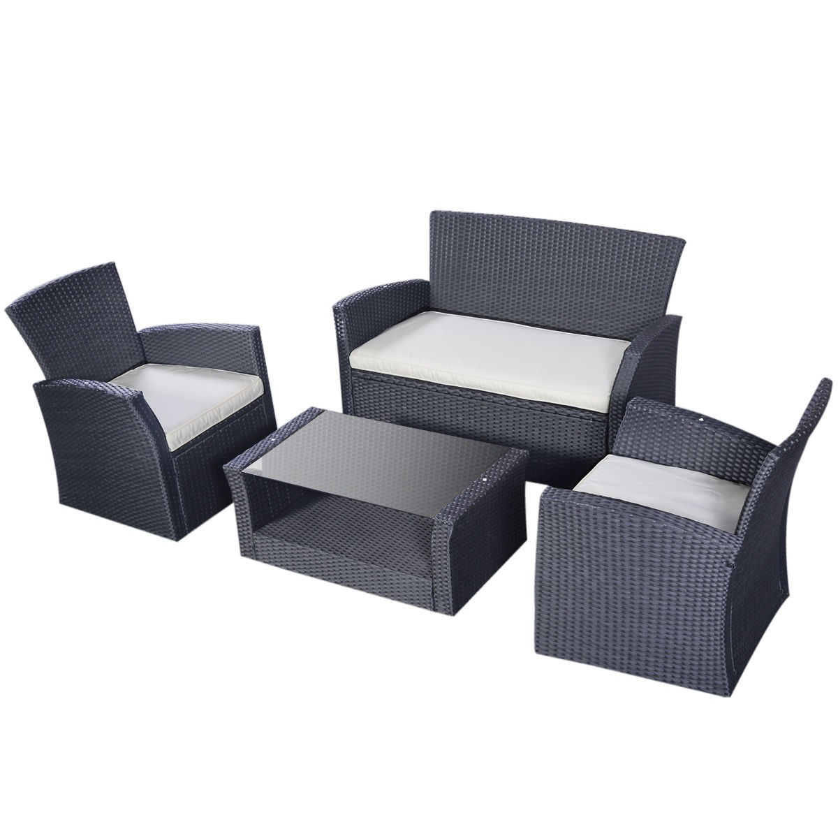 4PCS Outdoor Patio Furniture Set Wicker Garden Lawn Sofa Rattan US ...