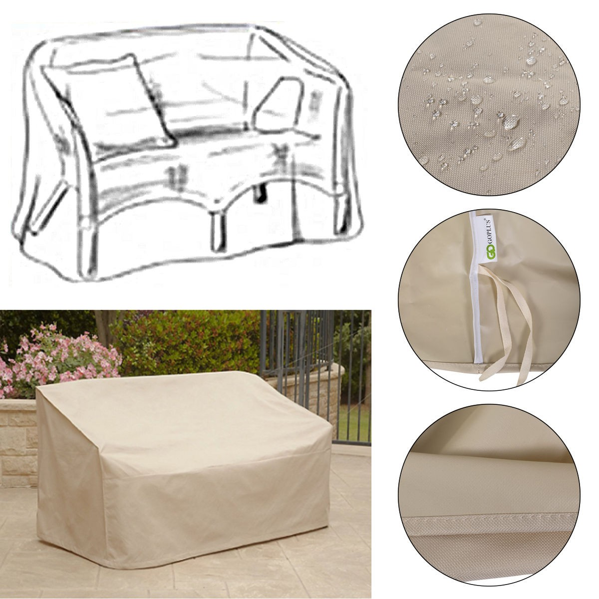 Details about waterproof high back patio loveseat bench cover outdoor furniture protection new