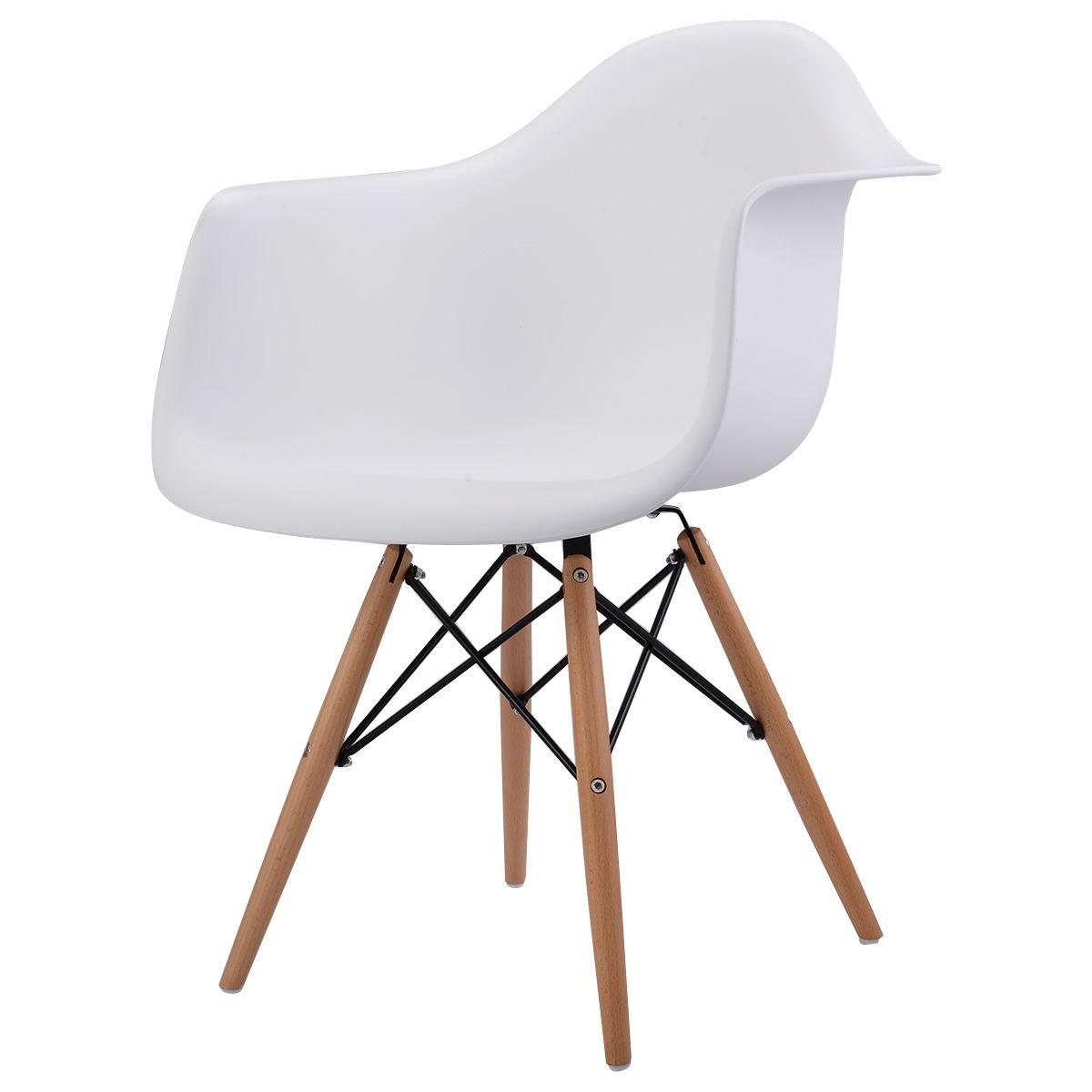 New 1pc Mid Century Modern Molded Plastic Stylish Dining Arm Chair Wood Legs