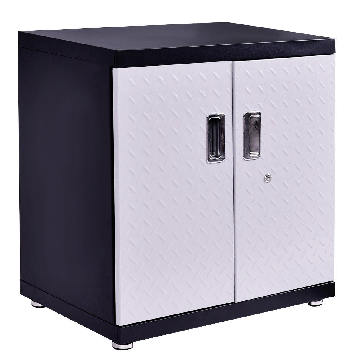 Steel Wall Mount Garage Cabinet Metal Storage Box Organizer 2 Shelves Tool  New