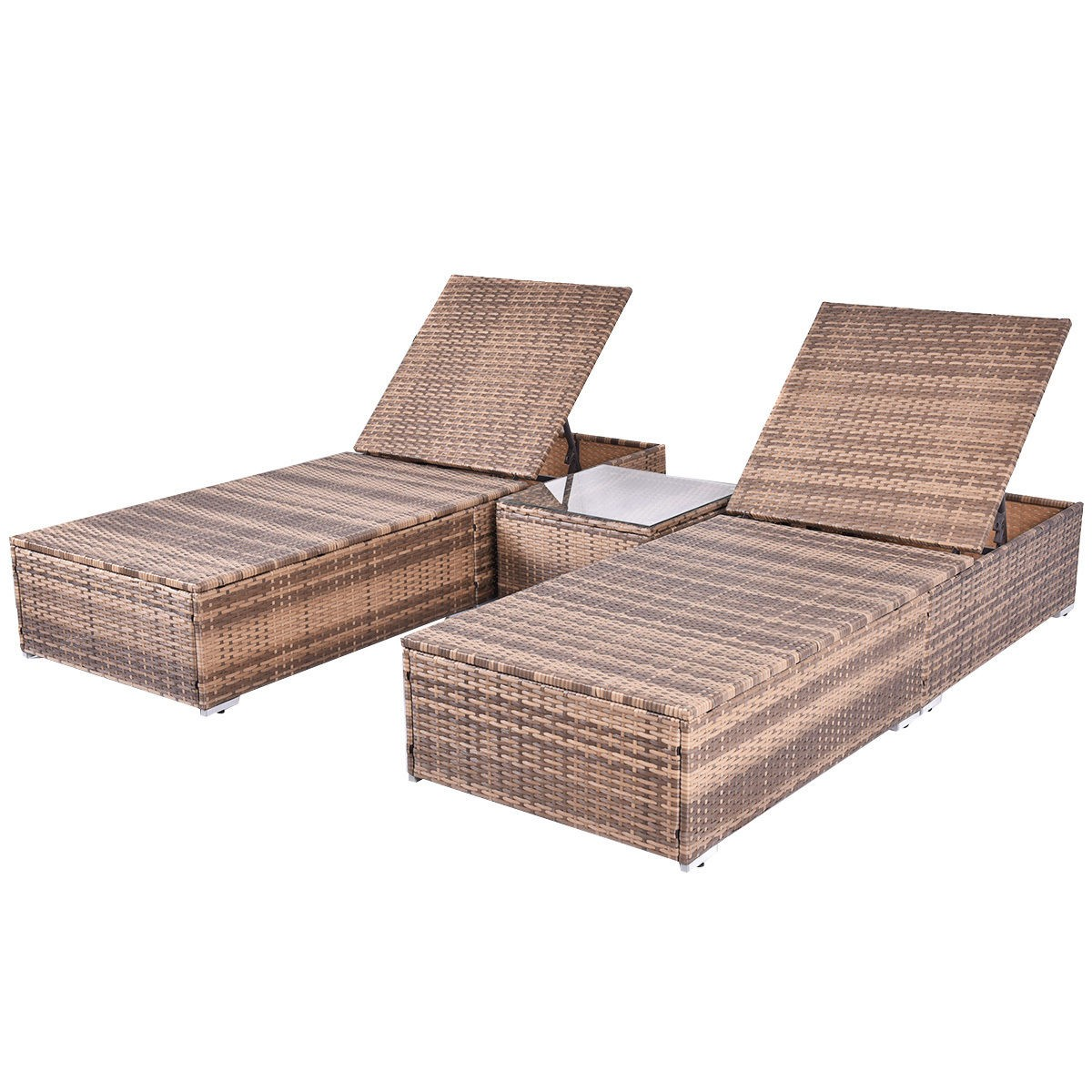 3pcs wicker rattan chaise lounge chair set patio steel for Chaise lounge couch set