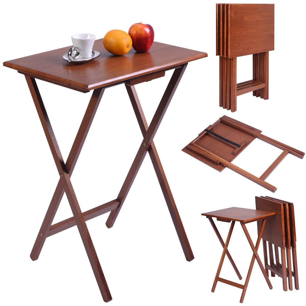 New Set Of 4 Portable Wood Tv Table Folding Tray Desk Serving Furniture Walnut