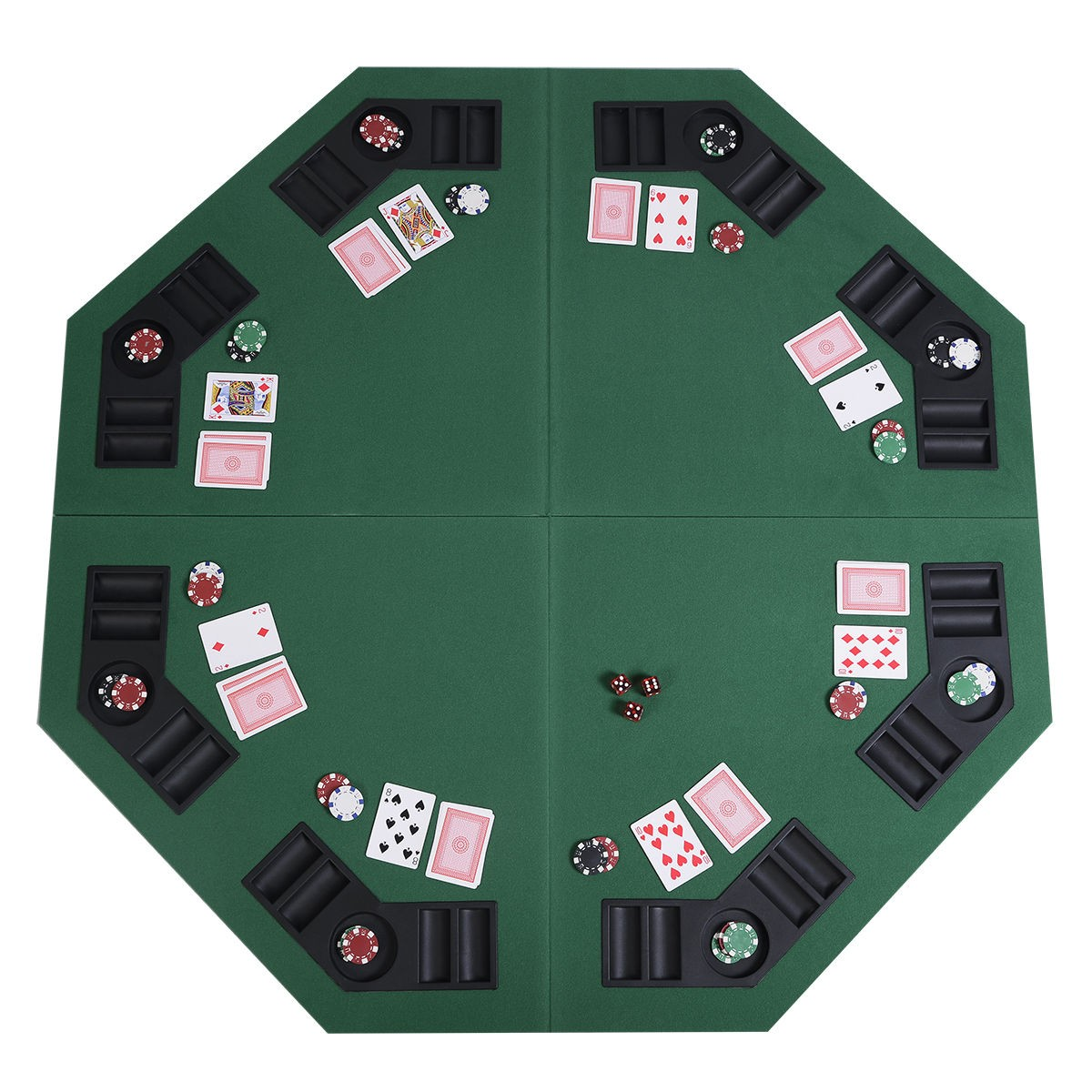 US 48\  Green Octagon 8 Player Four Fold Folding Poker Table Top \u0026 Carrying Case  sc 1 st  eBay & US 48\