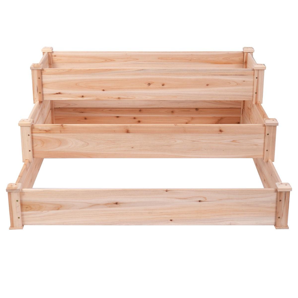3 Tier Wooden Elevated Raised Vegetable Garden Bed Planter