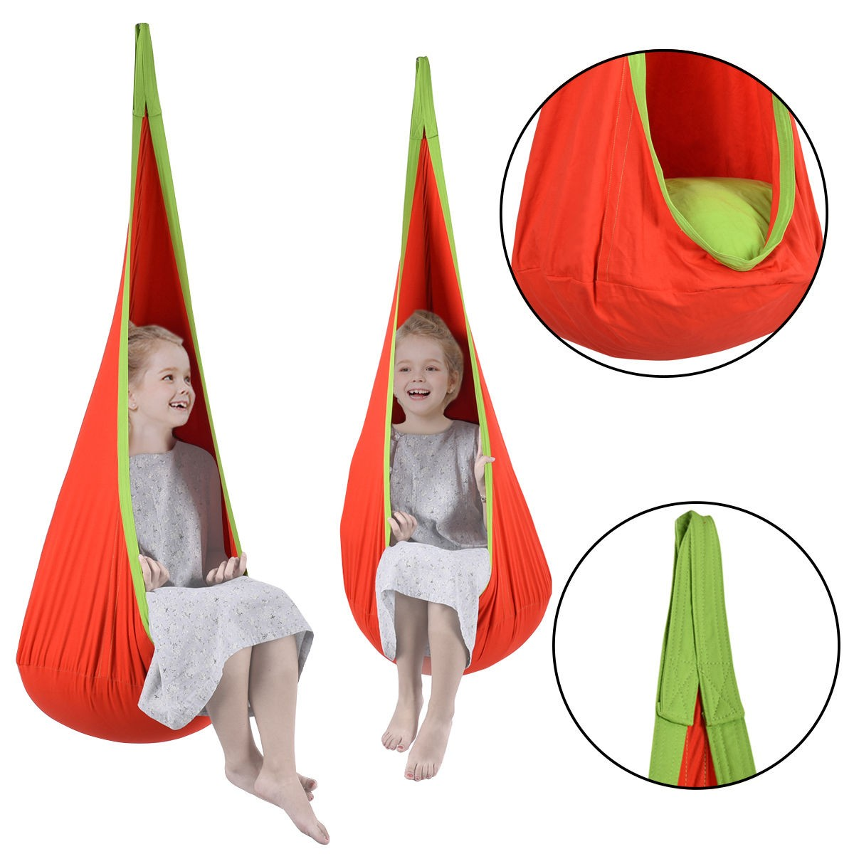 Pc Baby Hammock Inflatable Swing Indoor//Outdoor Hanging Chair with Inflatable Cushion Rose Red