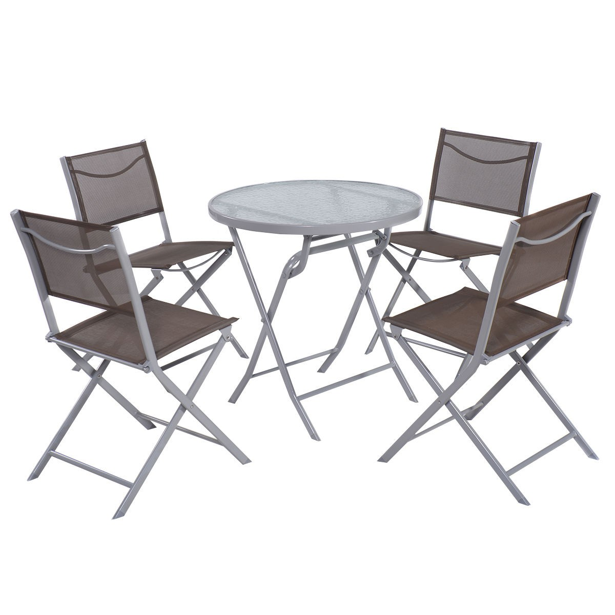 Bistro Set 4 Folding Chairs+Table Outdoor Patio Garden Furniture Textilene  5Pcs | EBay