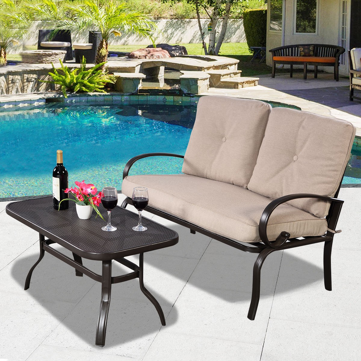 Picture of: 2 Pcs Patio Outdoor Loveseat Coffee Table Set Furniture Bench With Cushion New 6952938384421 Ebay
