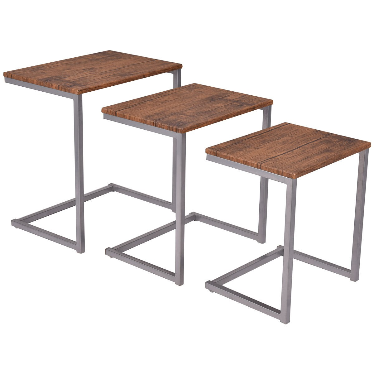 3Pcs/set Steel Stacking Nesting Coffee End Tables Steel Sube ...