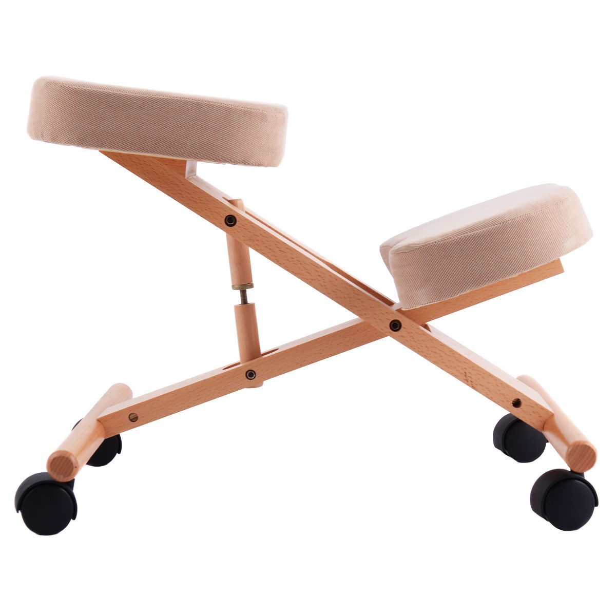 Adjustable Ergonomic Kneeling Chair Seat Wooden Mobile