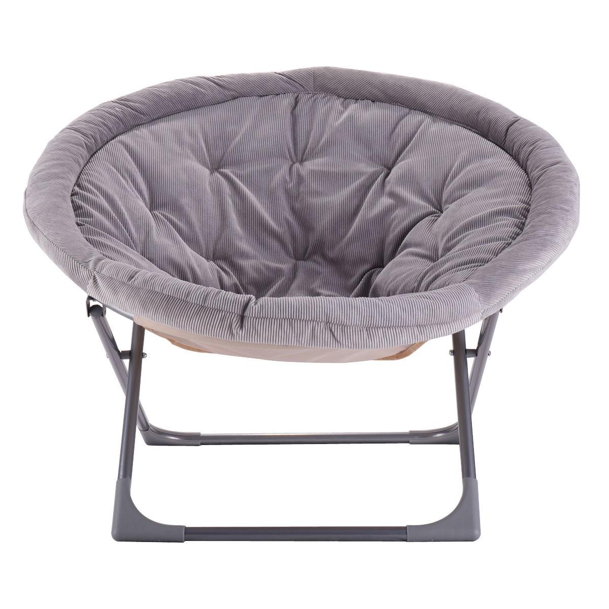 new oversized large folding saucer moon chair corduroy. Black Bedroom Furniture Sets. Home Design Ideas