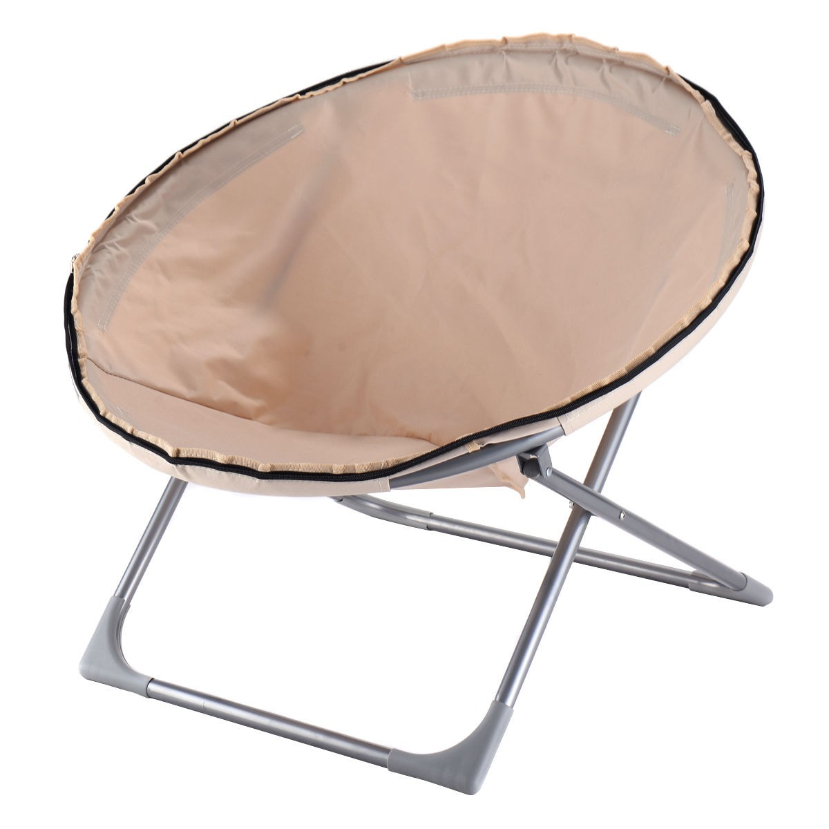 Beau Oversized Large Folding Saucer Moon Chair Corduroy Round Seat Living Room  Hot US