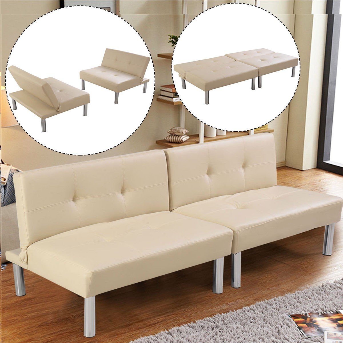 US New Folding PU Leather Futon Convertible Sofa Sleeper Bed Living ...