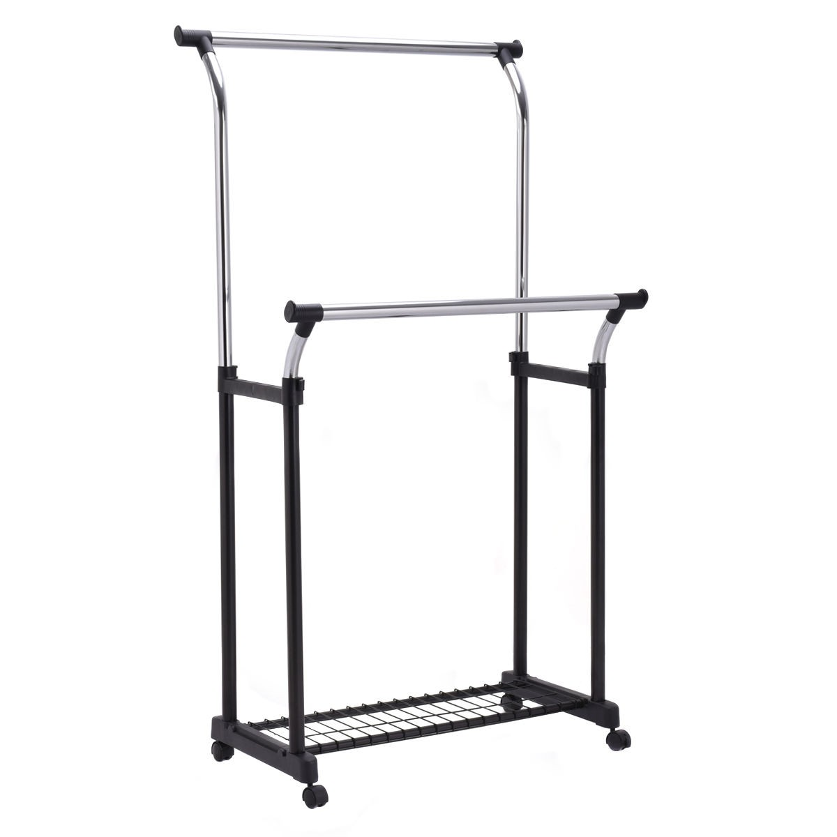 Adjule Double Rail Garment Rack Portable Rolling Clothes Hanger
