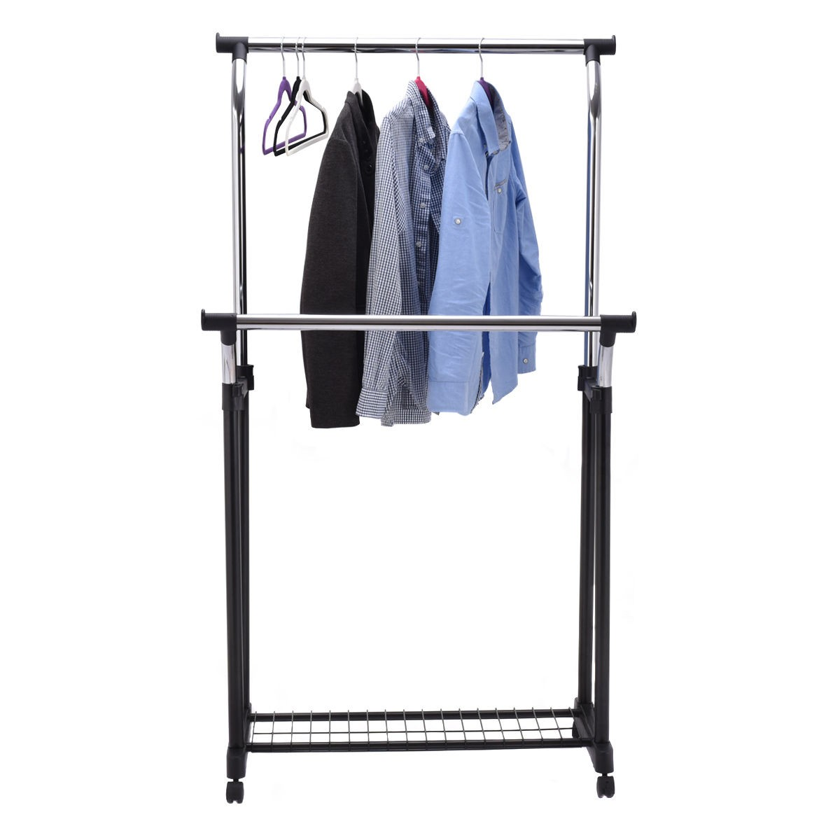 adjustable double rail garment rack portable rolling clothes hanger w shoe rack 612720687890 ebay. Black Bedroom Furniture Sets. Home Design Ideas