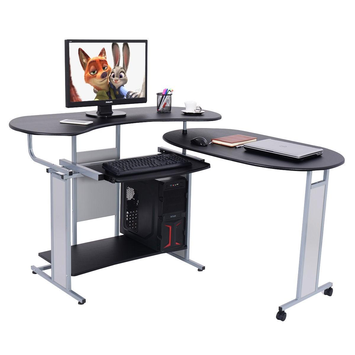 Lh Expandable L Shaped Computer Desk Pc Table Corner