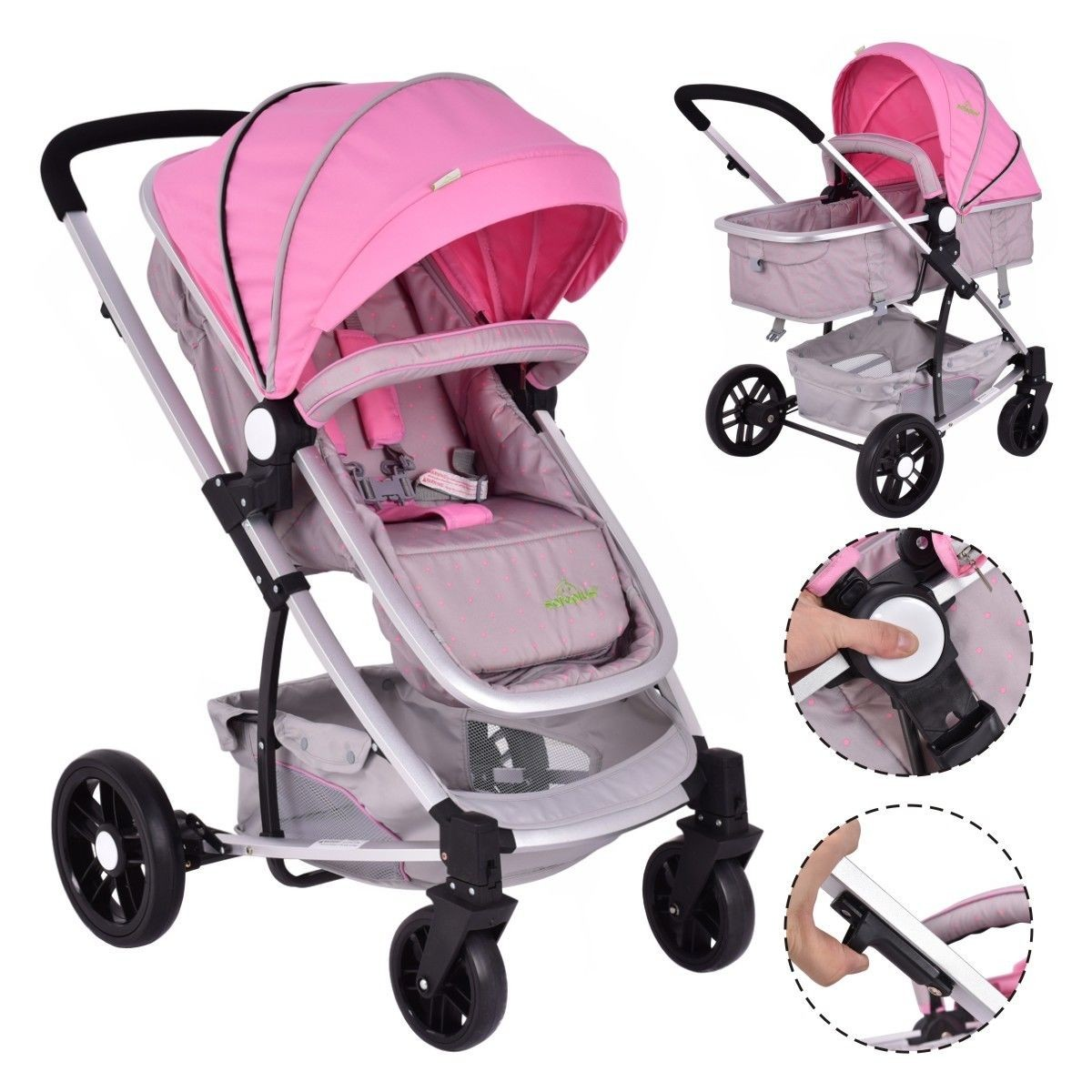2 In1 Foldable Baby Stroller Kids Travel Newborn Infant