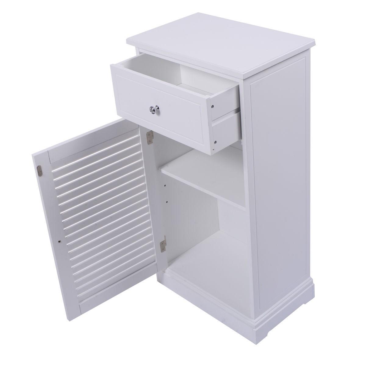 Storage Floor Cabinet Wall Shutter Door Bathroom Organizer Cupboard Shelf White Ebay