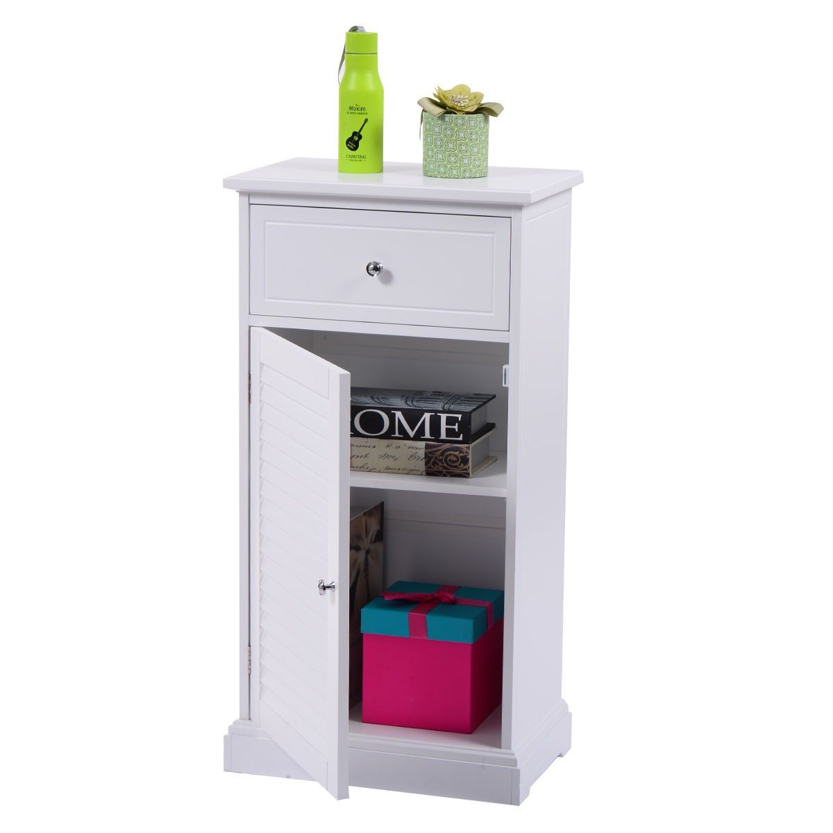 Storage floor cabinet wall shutter door bathroom organizer for Bathroom storage cabinets floor