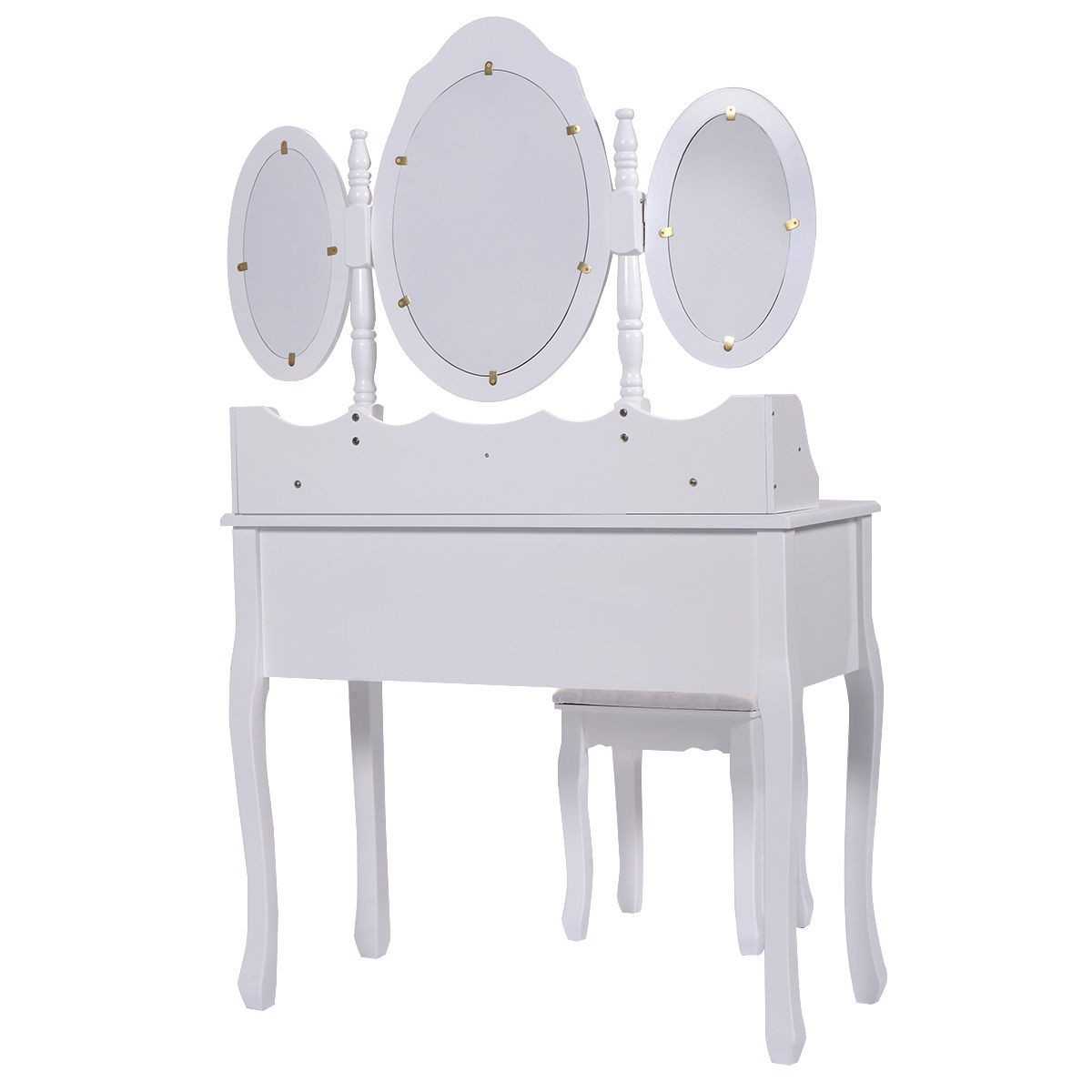 vanity makeup dressing table set wood desk stool 7 drawer