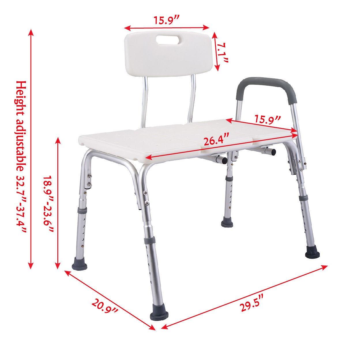 10 Height Adjustable Medical Shower Chair Bath Tub Bench