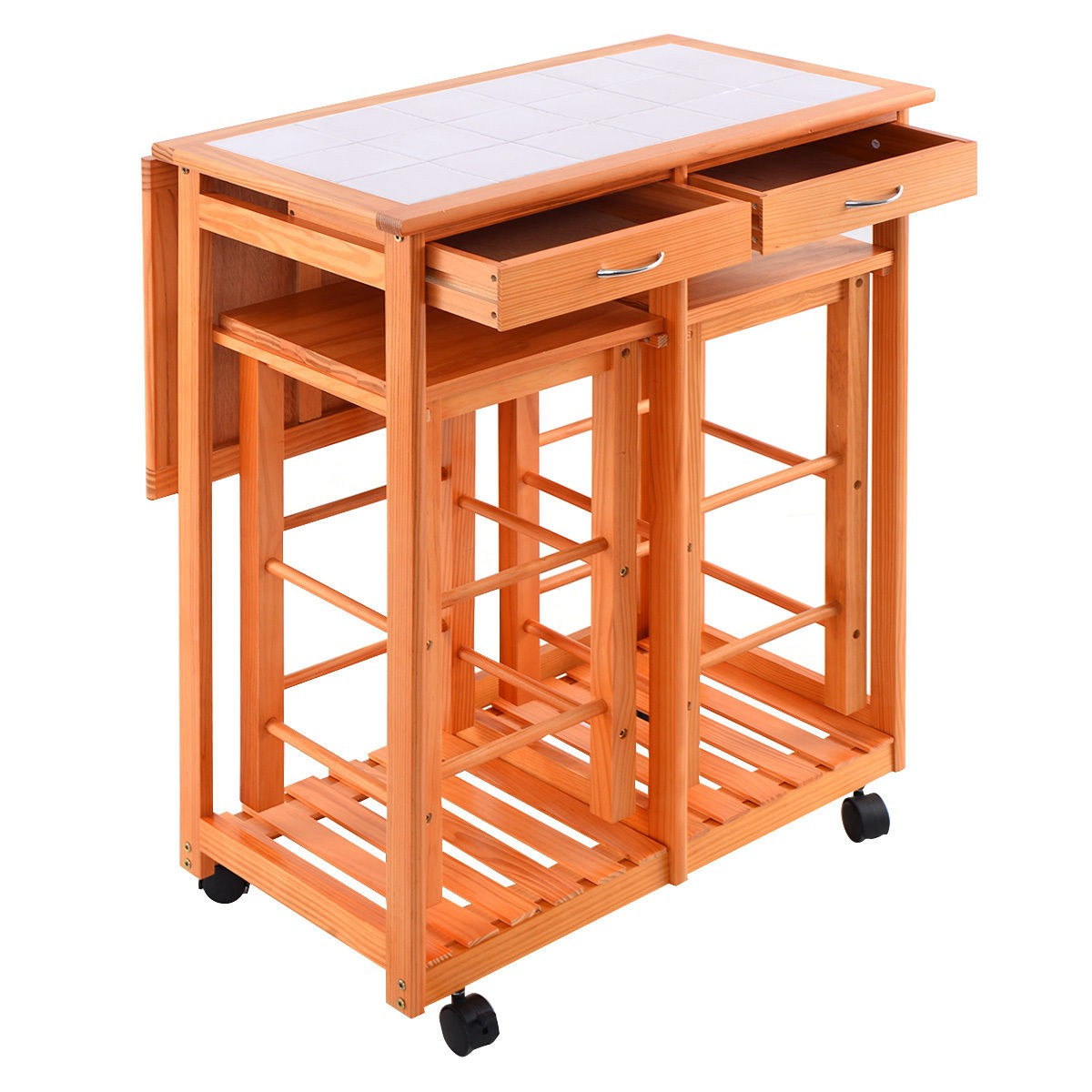 Us Portable Kitchen Rolling Cart Wood Island Serving: Rolling Kitchen Trolley Cart Island Drop Leaf Table W/ 2