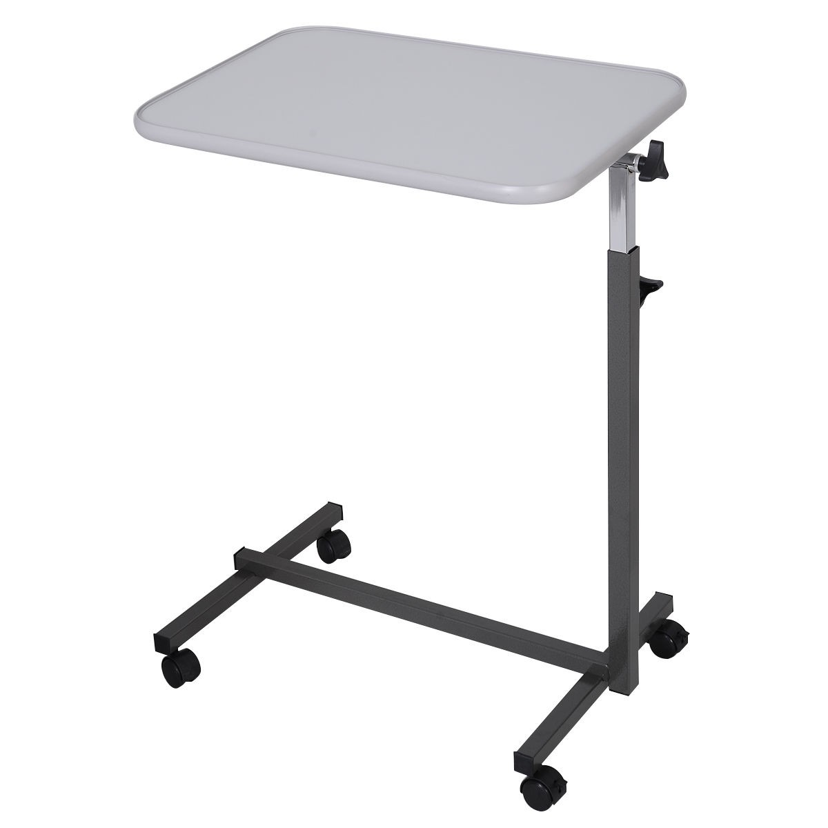Overbed table food tray non tilt top bed hospital adjustable rolling - New Overbed Table Food Tray Top Bed Hospital Adjustable Rolling Laptop Desk Gray Uschw49070gr This Is Us Stock With Fast Shipping