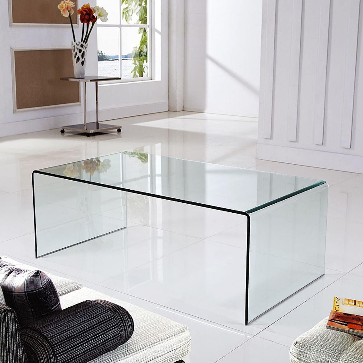 New Tempered Glass Coffee Table Accent Cocktail Side Table