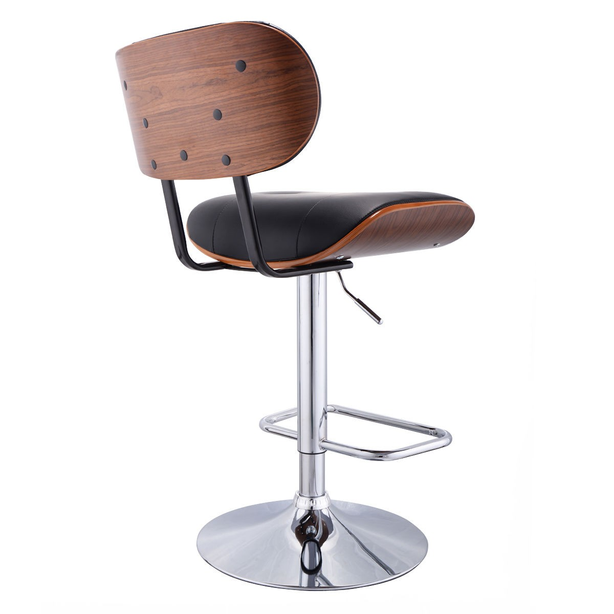 Bar Stool Pu Leather Swivel Bentwood Tufted Pub Chair