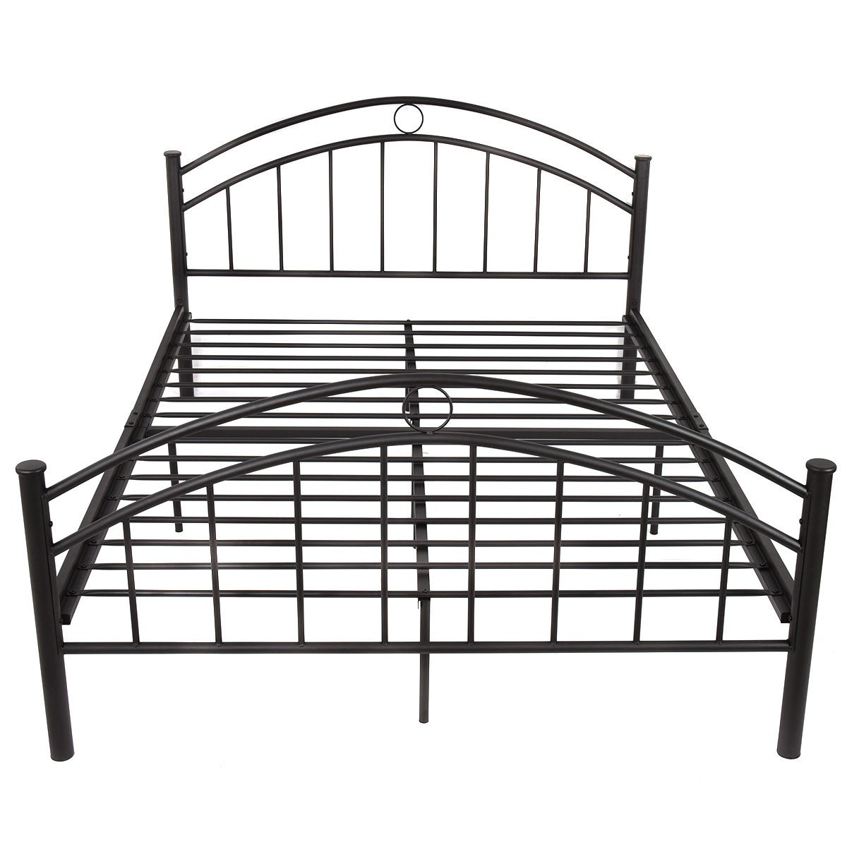 Us queen size metal bed frame mattress platform headboard for High bed frame queen