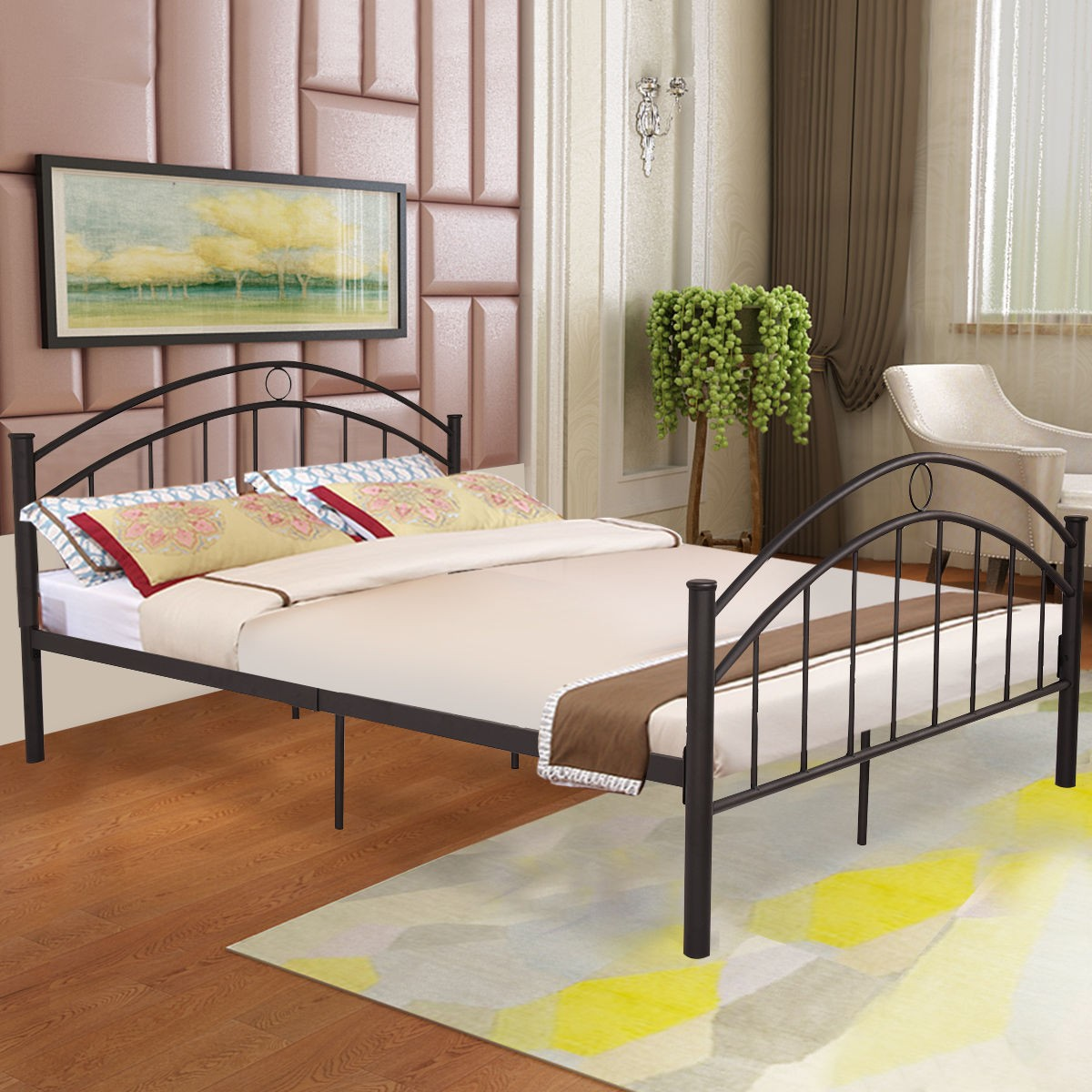 Bedroom Black Metal Bed Frame Queen Size Mattress Platform ...