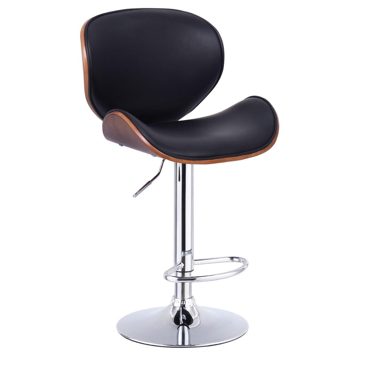Lh Modern Adjustable Height Swivel Bentwood Cushioned Seat Bar Stool Rest Back Ebay