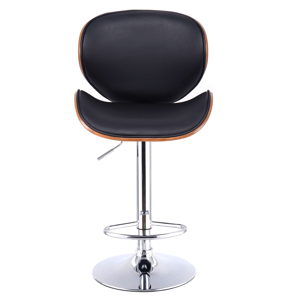 Lh Modern Adjustable Height Swivel Bentwood Cushioned Seat