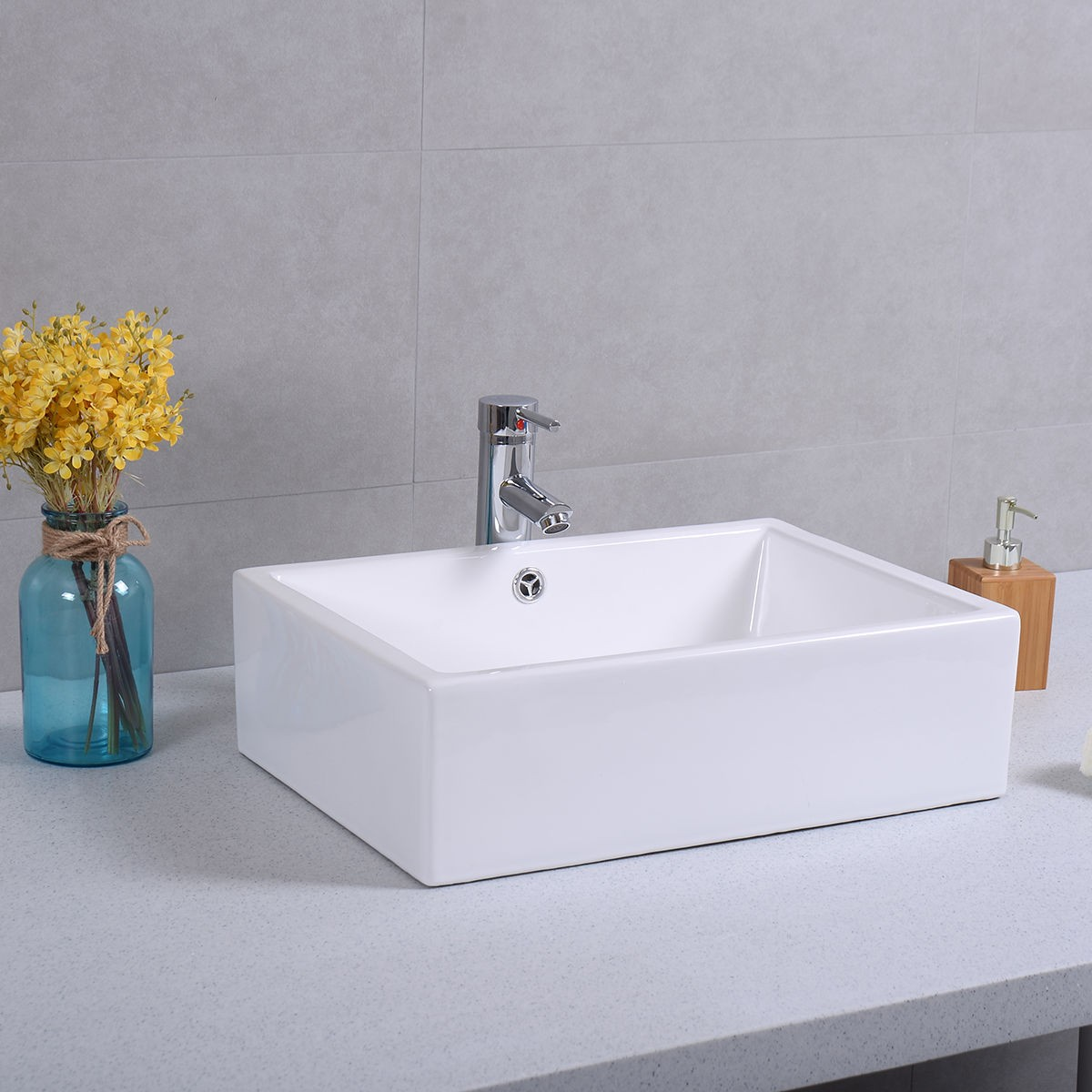 20 quot ceramic bathroom sink rectangle vessel bath deck mount 21625