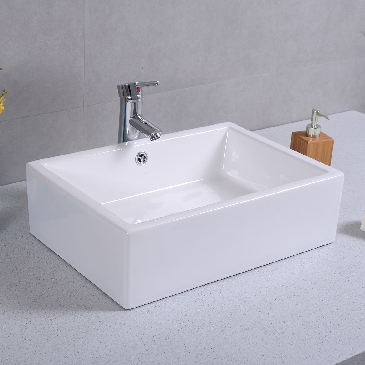 bathroom sink white 20 quot ceramic bathroom sink rectangle vessel bath deck mount 11456