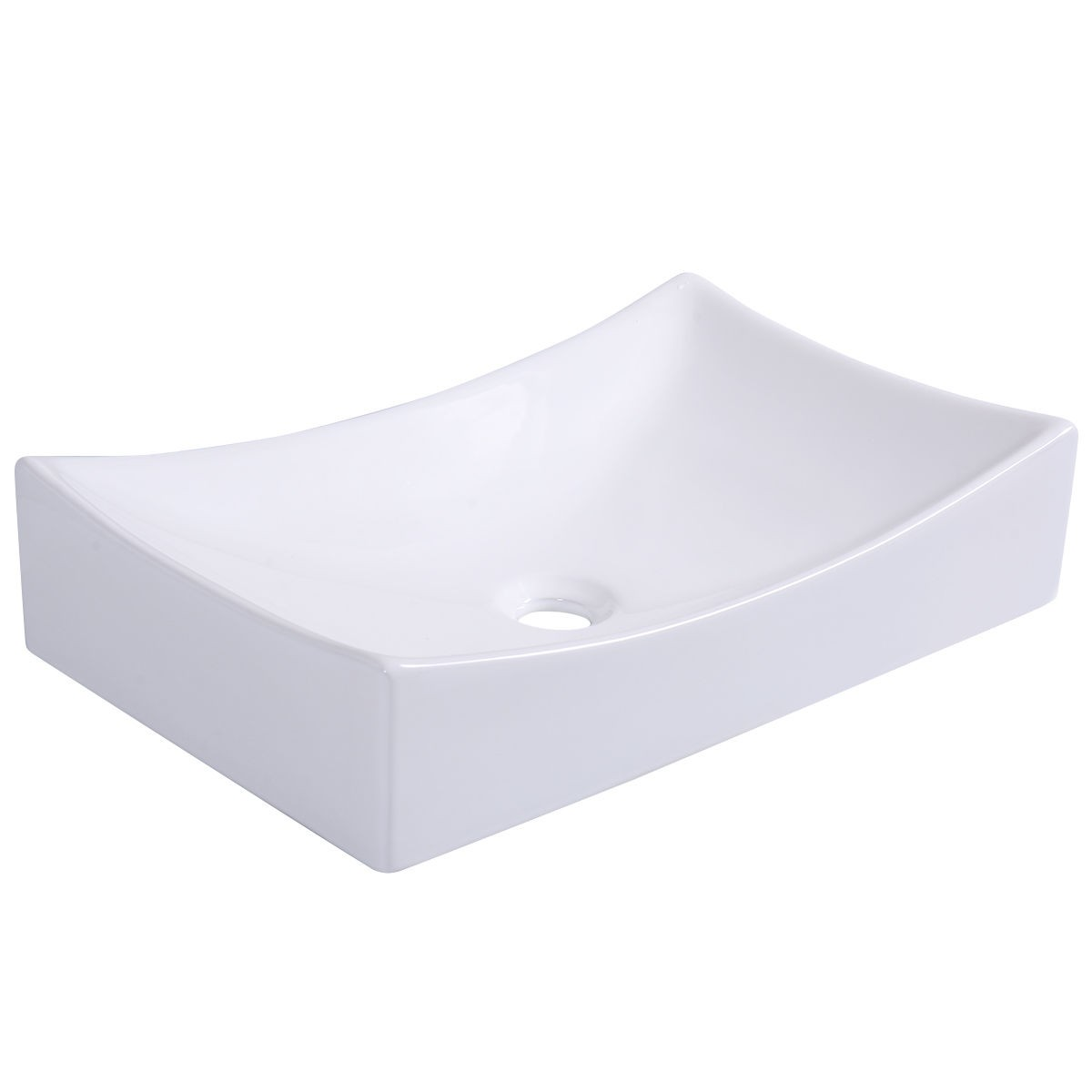 W Modern Design Bathroom Rectangular White Ceramic Vessel