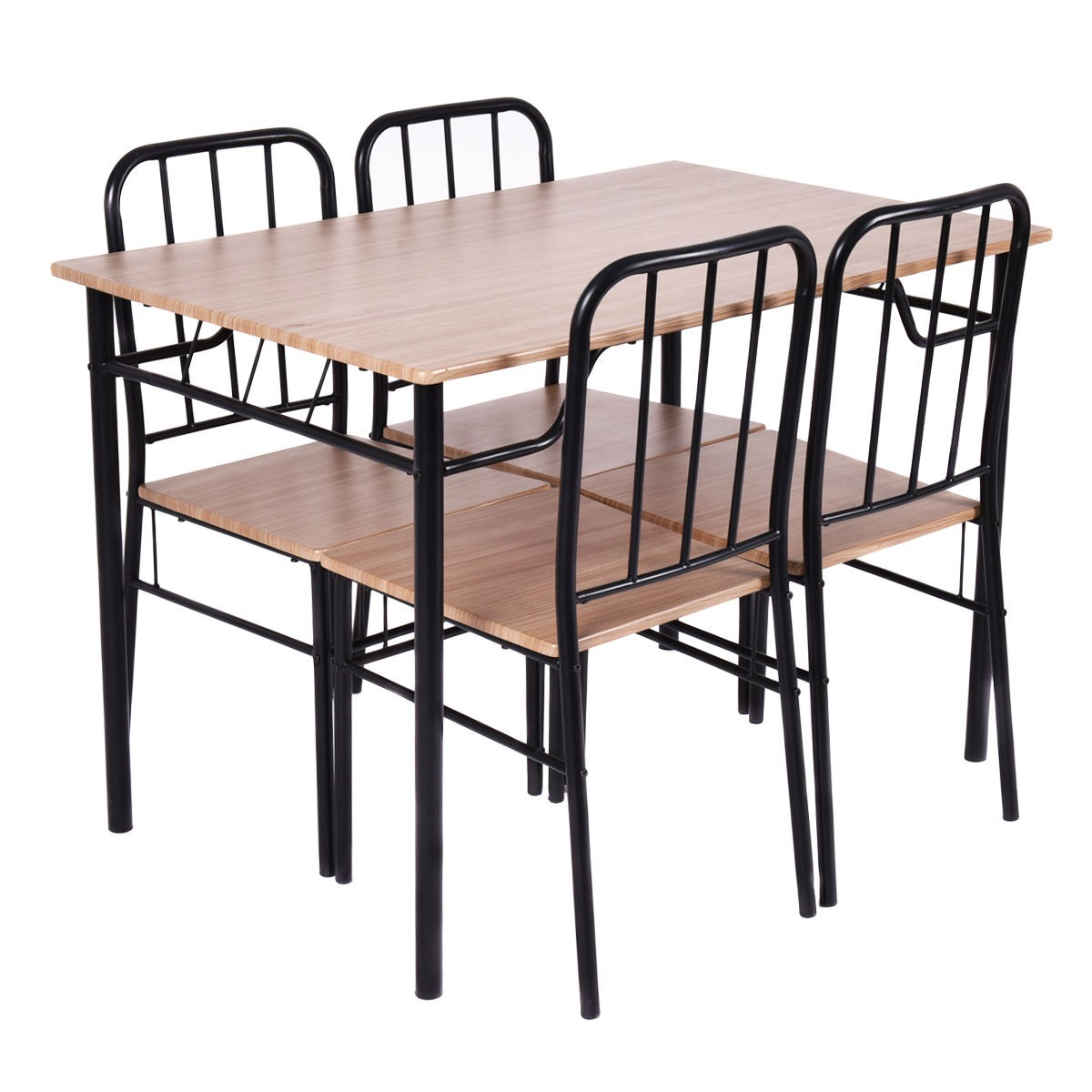 5pcs Dining Set Table And 4 Chairs With Two Slide Out