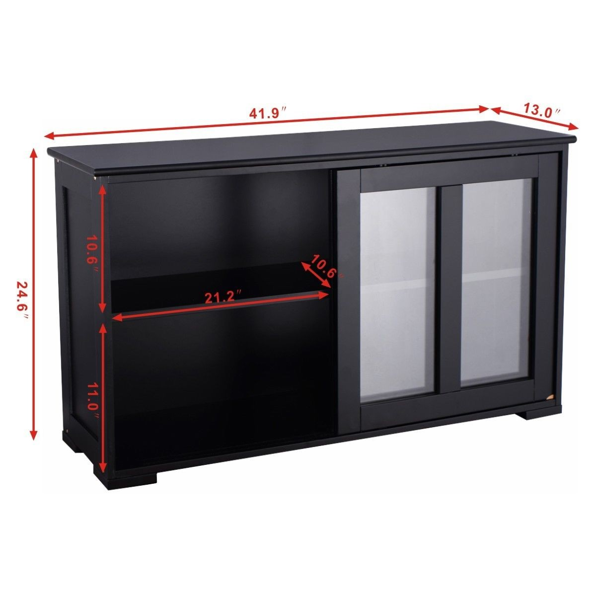 Kitchen Cabinets Sliding Doors: Home Kitchen Stackable Storage Cabinet With Glass Sliding