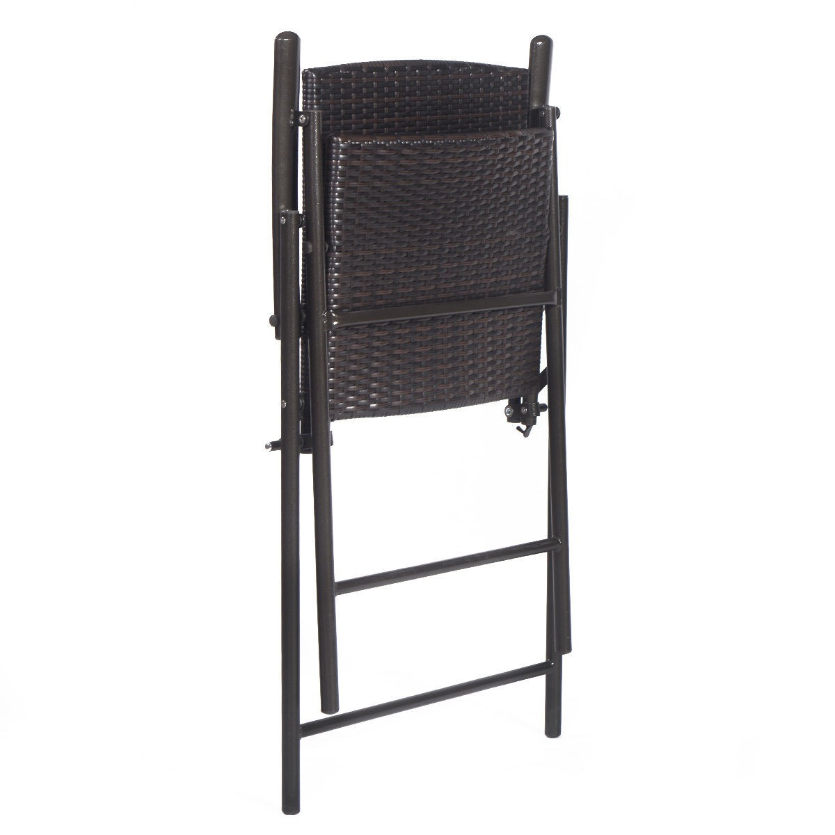 US Indoor Outdoor Rattan Wicker Folding Chairs 4Pcs Furnitures Black
