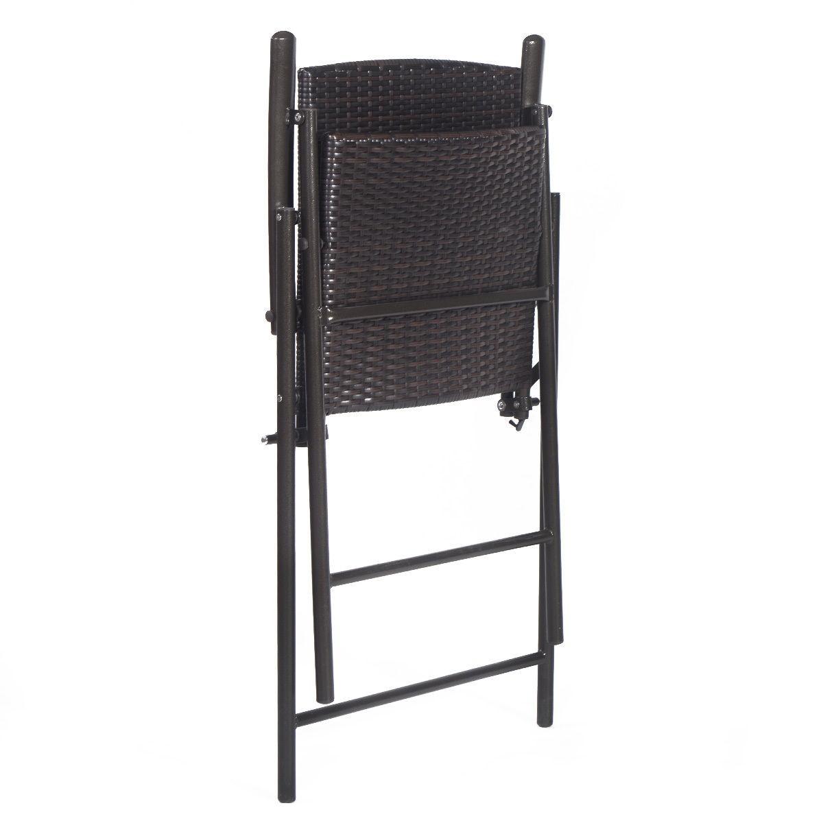 Us Indoor Outdoor Rattan Wicker Folding Chairs 4pcs Furnitures Black Ebay
