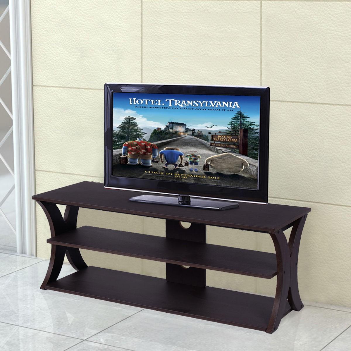w 3 tier entertainment center tv stand home living room open shelf structure dvd. Black Bedroom Furniture Sets. Home Design Ideas