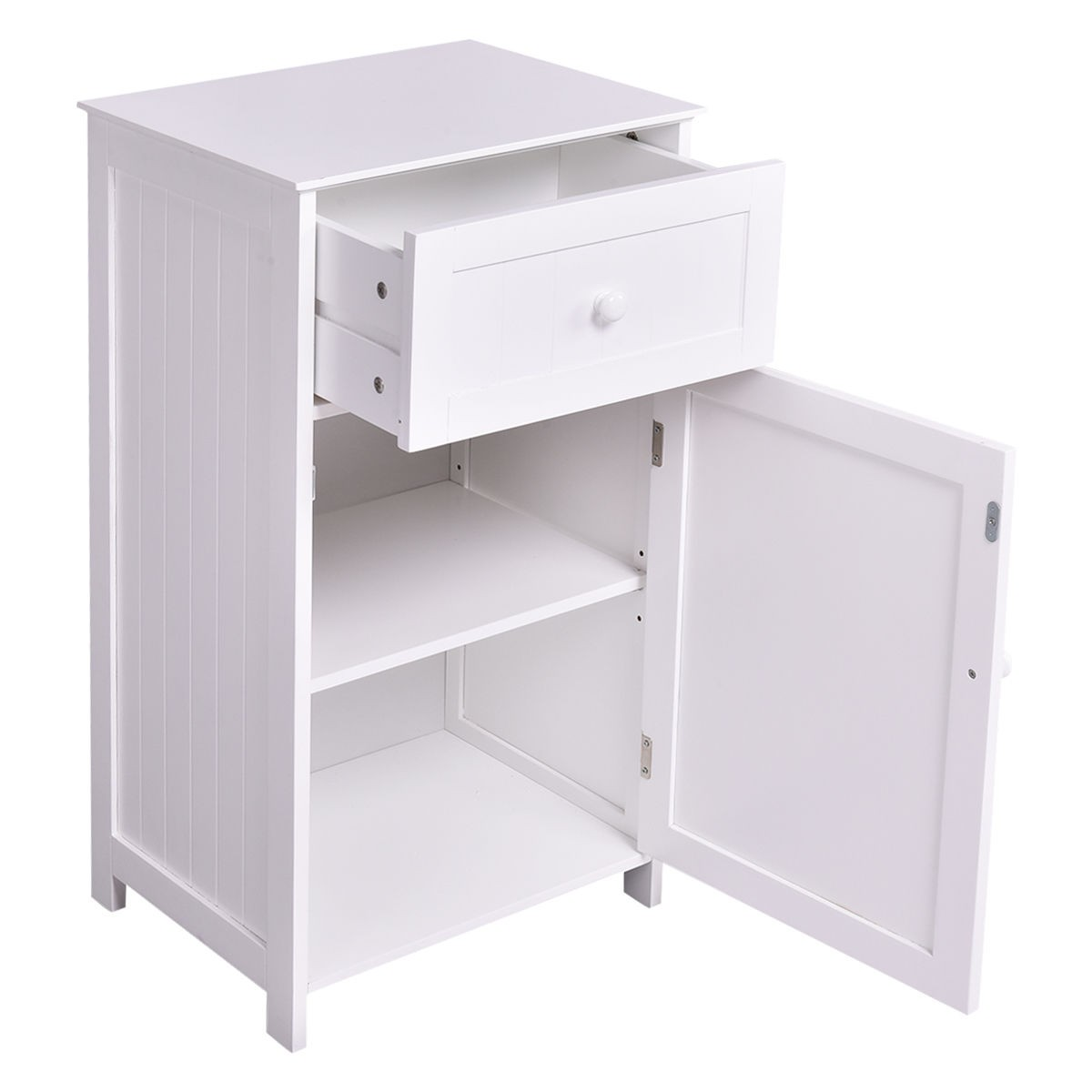 White Bathroom Furniture Storage Cupboard Cabinet Shelves: Kitchen Bathroom Storage Cabinet Floor Stand White Wood