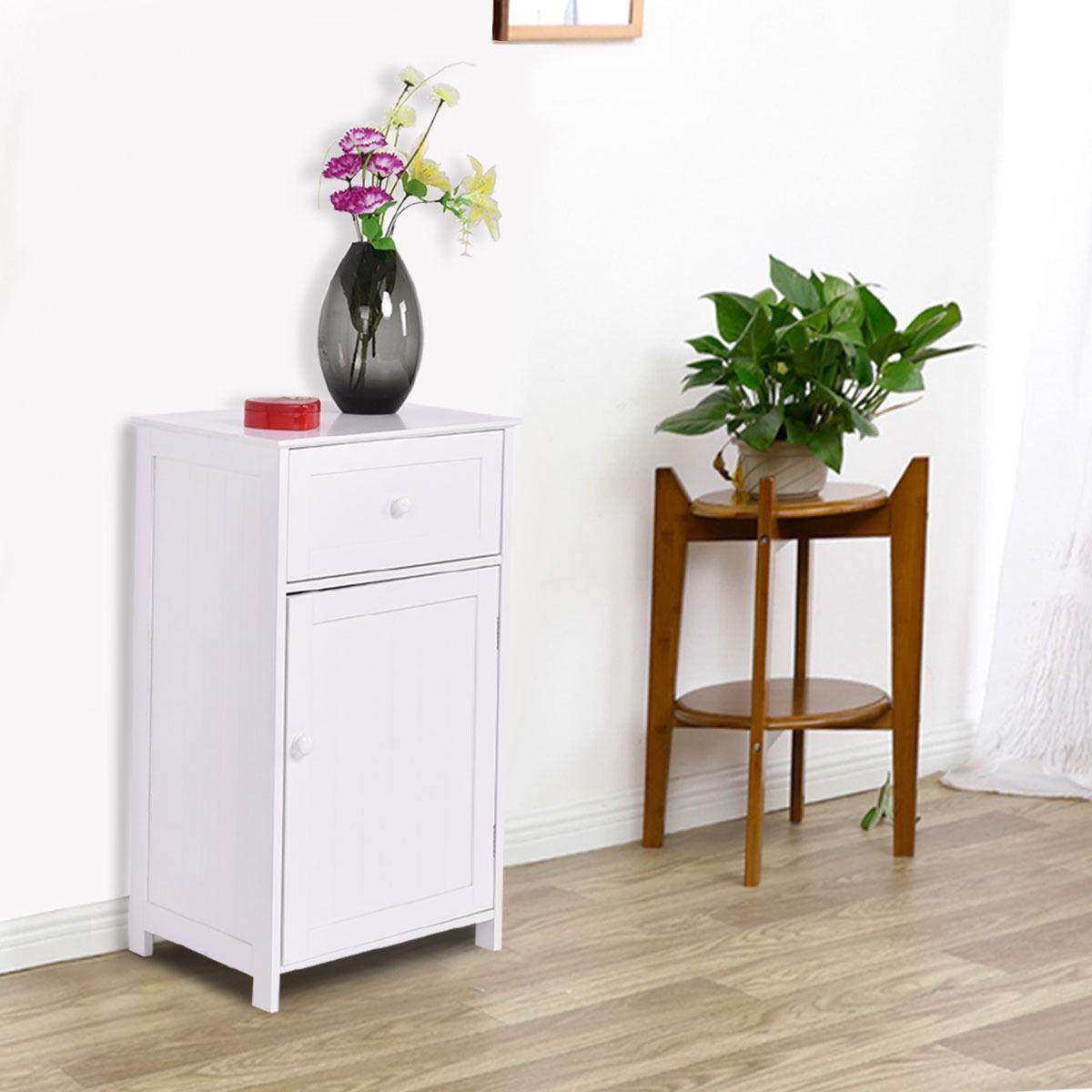 Bathroom Storage Cabinet Floor Stand White Wood Furniture
