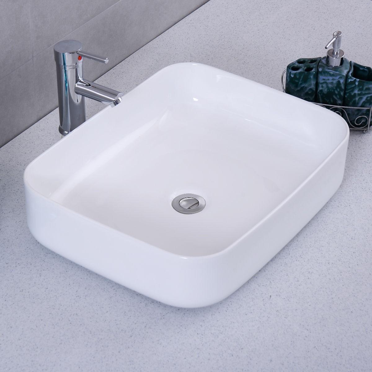 Modern Ceramic Rectangle White Vessel Sink Bathroom Vanity Art Basin Bowl US