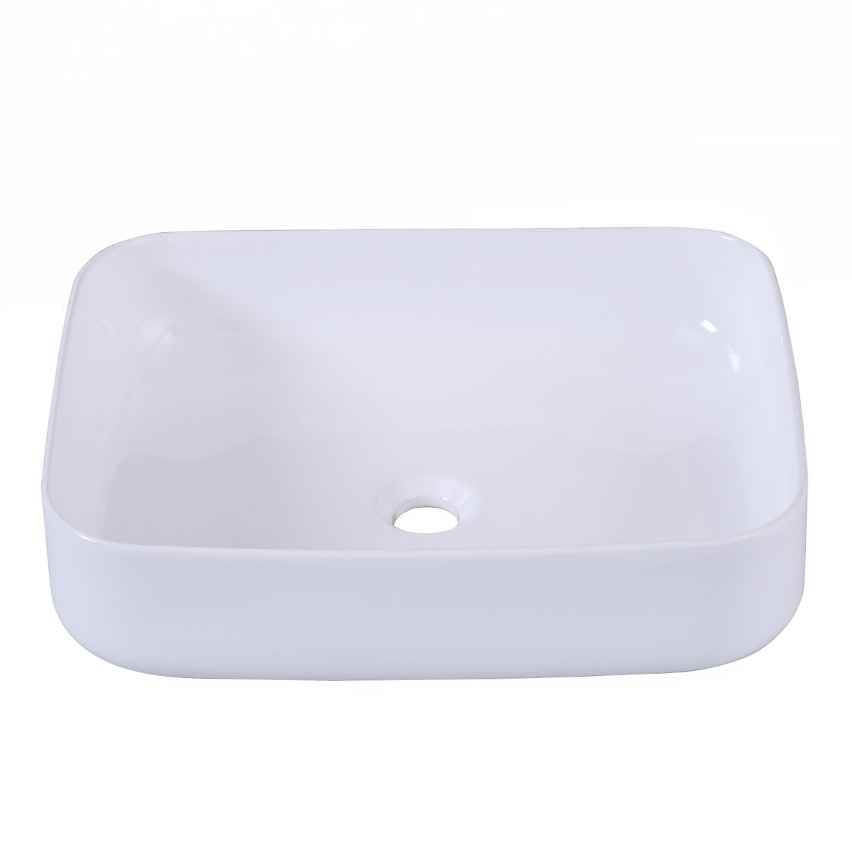 Modern Ceramic Rectangle White Vessel Sink Bathroom Vanity