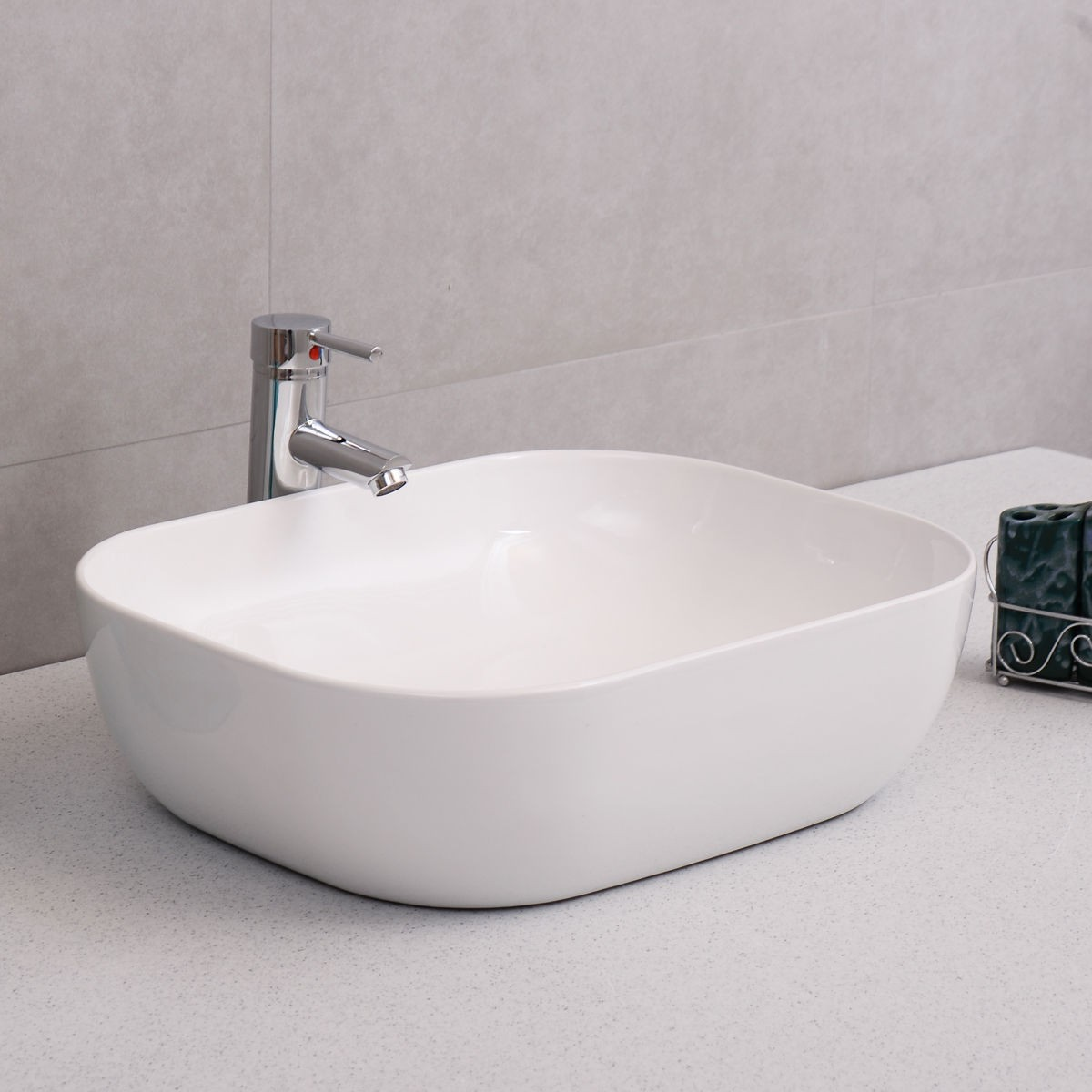 W Modern Rectangle Bathroom Porcelain Vessel Vanity Sink