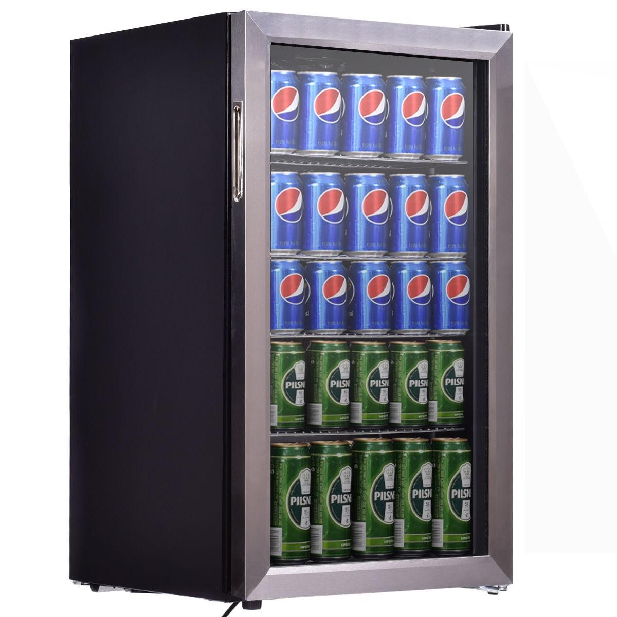 mini fridge 120 can beverage refrigerator beer wine soda. Black Bedroom Furniture Sets. Home Design Ideas