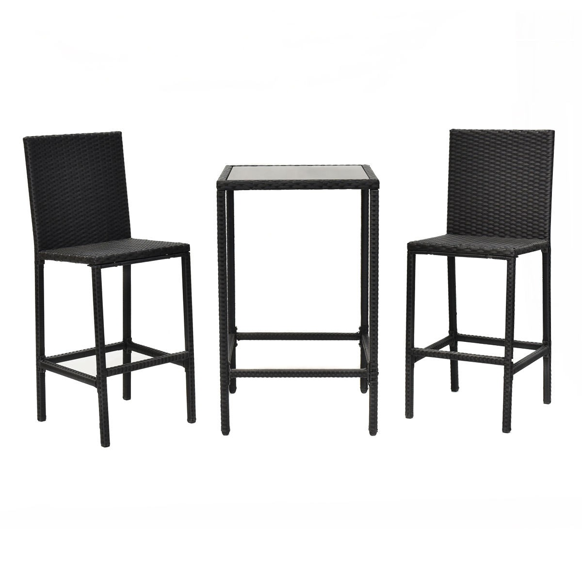 3pcs garden patio rattan wicker outdoor dining set table. Black Bedroom Furniture Sets. Home Design Ideas
